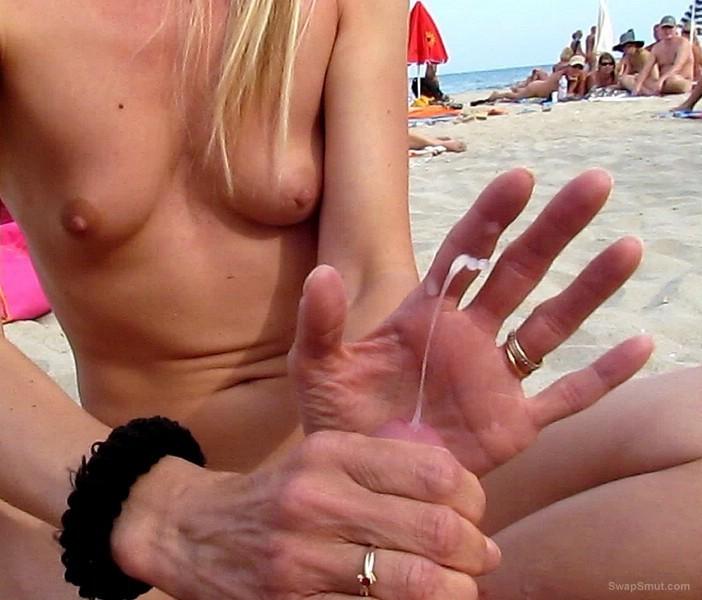 Hand job at the beach