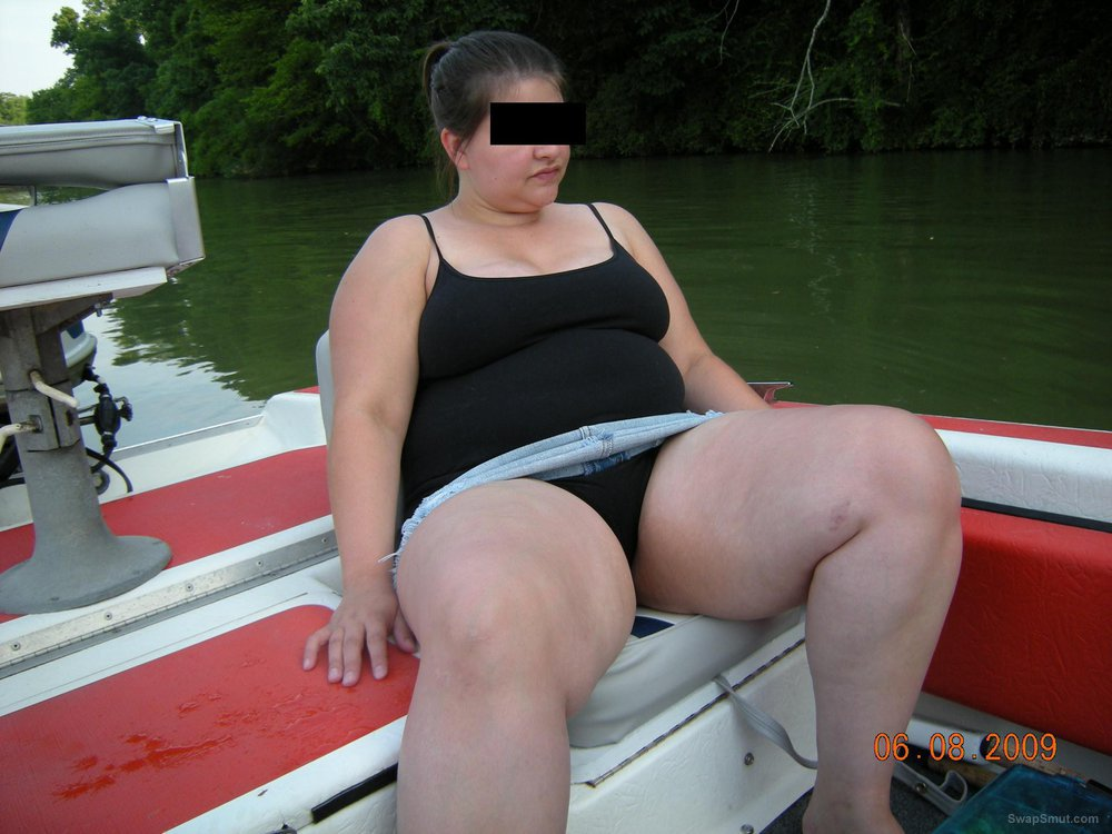 Wife flashing big tits and cunt on boat outdoor exhibitionist public