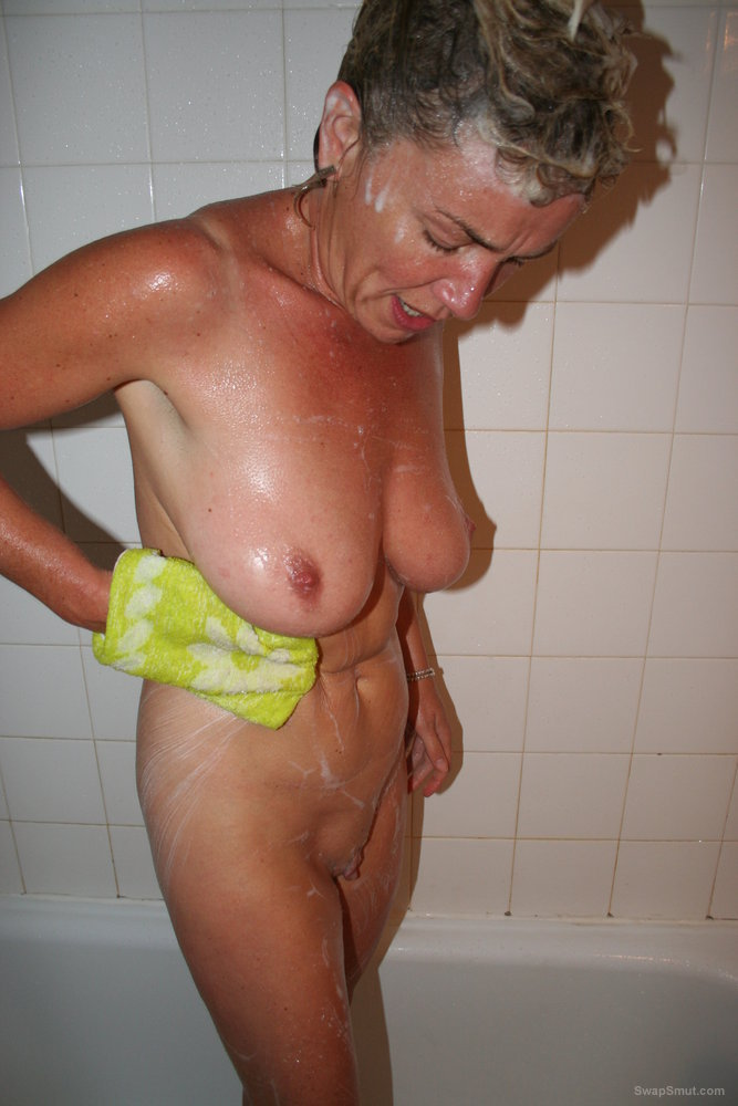 Naked mature lady in the shower