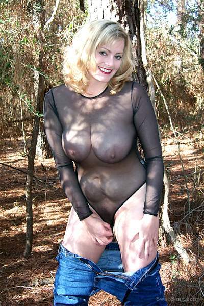 A sexy blonde wife who loves to play in the woods