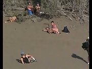 Raunchy nudist beach couples getting horny watching each others antics