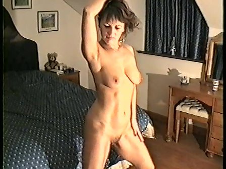 Yvonne on her bed naked with legs wide open