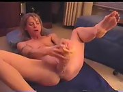 Wife masturbating with her bog thick dildo