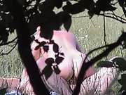 Voyeuristic amateur sex naked couple frolicking about in a public park