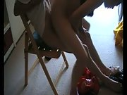 Amateur Blonde Rides her BF on Chair Reverse Cowgirl