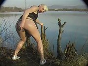 Blonde amateur anal butt plug and sodomy fuck on lakeside in public