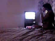 Black prostitute hidden cam sex video setup in brothel room to monitor