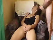 Wife masturbates while hubby cums over her