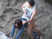Horny amateurs caught having sex on the beach