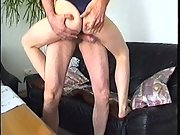 Mature couple passionate sex on leather sofa bareback penetration