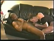 Black my white wife cuckold amateur bred on leather sofa with stud