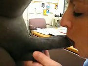 The black boss fucked the office maid on his desk at work a must see