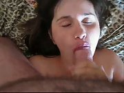 Brunette wife with nice hanging tits bent over table sexed from behind