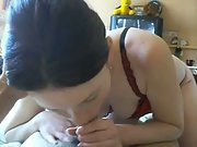 Amateur blowjob filming her between my legs licking and sucking dick