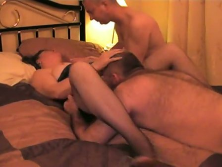 Brunette wife fucked in threesome
