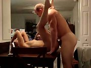 Rough sex on the table making her squeal out loud and gasp for air