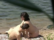 Hidden voyeur amateur sex video couple spied on by lake