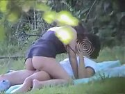 Outdoor fun hot heavy petting action outdoors in public