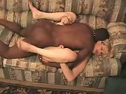 White wife with bbc hubby cleans up afterwards licking out his sperm