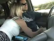 Cute Wife Giving Handjob In Car